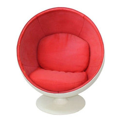 Used 1960s Ball Chair by Eero Aarnio - Designed by Eero Aarnio in the early 1960s, the Ball Chair was an unconventional Mid-Century Modern classic. The Ball Chair became increasingly popular all over the world due to its chic and modern formation - it can truly add style and comfort to any room.    The Eero Aarnio Style Ball Chair is made of a fiberglass frame with a swivel base. It features a classic 5-panel interior, with removable seat and back cushions. You can either purchase it as-is for $4,000 or request it to be newly reupholstered in Kvadrat Tonus 130 (or in any color you'd like) for $6,000.