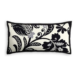 Black & White Modern Scroll Custom Lumbar Pillow - The perfect solo statement on a modern chair or bed, the rectangular lines of the Tailored Lumbar Pillow are effortlessly chic.   We love it in this modern swirling paisley-esque print in black and white with touches of silver. Go ahead, go wild!