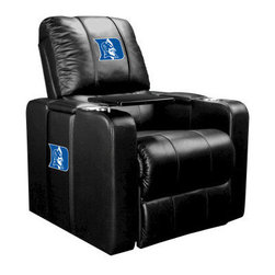 Dreamseat Inc. - Duke University NCAA Home Theater Plus Leather Recliner - Check out this awesome Leather Recliner. Quite simply, it's one of the coolest things we've ever seen. This is unbelievably comfortable - once you're in it, you won't want to get up. Features a zip-in-zip-out logo panel embroidered with 70,000 stitches. Converts from a solid color to custom-logo furniture in seconds - perfect for a shared or multi-purpose room. Root for several teams? Simply swap the panels out when the seasons change. This is a true statement piece that is perfect for your Man Cave, Game Room, basement or garage. It combines contemporary design with the ultimate comfort from a fully reclining frame with lumbar and full leg support.