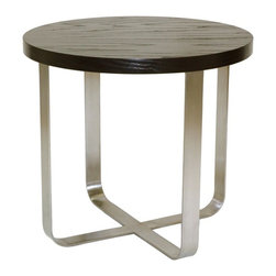 Allan Copley Designs - Allan Copley Designs Artesia 24 Inch Round End Table w/ Mocca on Oak Top - The Artesia Collection by Allan Copley Designs is as practical as it is refined. Its sleek lines give it a geometric and balanced appearance that is sure to add a stylish element to your home's decor. With the Satin Nickel Base accented by the Mocha on Oak Tops, an elegantly contemporary design is achieved. The Artesia Collection includes Round Cocktail, Round End and Console Table. What's included: End Table (1).
