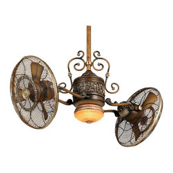 """Minka Aire - Traditional 42"""" Minka Aire Gyro Belcaro Walnut Ceiling Fan - This modern ceiling fan is Victorian inspired and has that vintage-industrial steampunk look."""