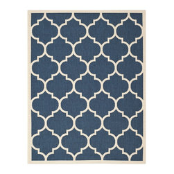 Safavieh - Safavieh Indoor/Outdoor Courtyard Navy/Beige Dhurrie-Style Rug (9' x 12') - Brighten up any space with this indoor/outdoor area rug from Safavieh's Courtyard Collection. The geometric pattern in navy and white has a contemporary feel, and a durable polypropylene construction ensures that this rug will last for years.