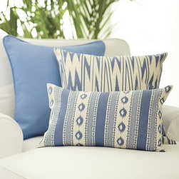 Ballard Designs - Ikat Stripe Pillow with Insert - Knife-edge. Hidden zipper. Luxurious feather down insert. Inspired by a French antique textile, our Ikat Stripe Pillow brings the geometric look home in a global stripe of cornflower blue and natural. Hand finished in soft linen/blend. Ikat Stripe Pillow features: . . .