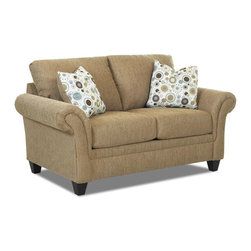 Klaussner - Contemporary Loveseat with Arm Pillows - Fabric upholstery. Knife edged back cushions. Bordered three over three seat cushions. Loveseat with Bentley pattern. Two pillows with dial pattern. Petite, flared arms are pleated and paneled for more feminine appeal. Pillows place texture and color into the mix. Panels meet the straight and front border. Tapered, block legs. Mocha, mink color. Made in USA. Seat: 48 in. L x 23 in. W x 22 in. H. Overall: 70 in. L x 38 in. W x 30 in. H (84 lbs. ). So fresh and so clean, the Hubbard collection with hip good looks.