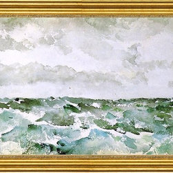 """James McNeill Whistler-16""""x24"""" Framed Canvas - 16"""" x 24"""" James McNeill Whistler Blue and Silver: The Chopping Channel framed premium canvas print reproduced to meet museum quality standards. Our museum quality canvas prints are produced using high-precision print technology for a more accurate reproduction printed on high quality canvas with fade-resistant, archival inks. Our progressive business model allows us to offer works of art to you at the best wholesale pricing, significantly less than art gallery prices, affordable to all. This artwork is hand stretched onto wooden stretcher bars, then mounted into our 3"""" wide gold finish frame with black panel by one of our expert framers. Our framed canvas print comes with hardware, ready to hang on your wall.  We present a comprehensive collection of exceptional canvas art reproductions by James McNeill Whistler."""