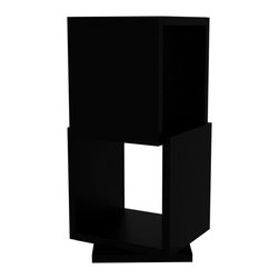 Tema Home - Shell Duo, Pure Black - Four stacked, swiveling cubes that redefine the modern bookcase. Each lacquered level rotates independently, offering endless possibilities for what shape you want it to take. Use it to showcase keepsakes or for stacking books, magazines, movies and music — all at your fingertips from any angle of your room.