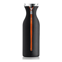 Eva Solo - Eva Solo Fridge Carafe with Neoprene Cover, Small, Black/Orange - Designed by Tools Design team of Claus Jensen and Henrik Holbaek, this fridge carafe with neoprene cover is perfect for water, juice and iced tea. The neoprene cover keeps contents cold longer and the patented lip allows for drip-free pouring. Holds up to 1.01 liters.