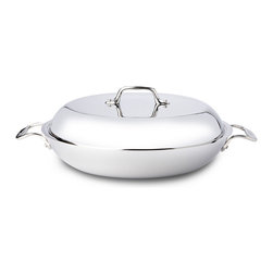 "All-Clad - All-Clad Tri-Ply Stainless Steel 4 qt. Braiser Pan w/Lid (4400) - Well designed for hearty ""comfort"" foods that are regaining in popularity today, the Braiser is perfect for sauteing or browning vegetables, poultry, beef, fish, and other foods, before covering to simmer on top of the stove, or in the oven. Lifetime warranty from All-Clad with normal use and proper care. Made in the USA!"