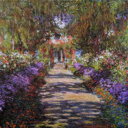 "Monet A Pathway in Monet's Garden at Giverny   Print - 16"" x 16"" Claude Oscar Monet A Pathway in Monet's Garden at Giverny premium archival print reproduced to meet museum quality standards. Our museum quality archival prints are produced using high-precision print technology for a more accurate reproduction printed on high quality, heavyweight matte presentation paper with fade-resistant, archival inks. Our progressive business model allows us to offer works of art to you at the best wholesale pricing, significantly less than art gallery prices, affordable to all. This line of artwork is produced with extra white border space (if you choose to have it framed, for your framer to work with to frame properly or utilize a larger mat and/or frame).  We present a comprehensive collection of exceptional art reproductions byClaude Oscar Monet."