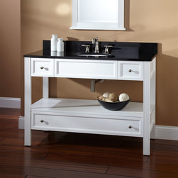 "48"" Milforde Console Vanity - This 48"" contemporary console vanity has modern design and an open shelf and lower drawer for storage."