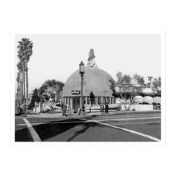 Artehouse Brown Derby Art Print - 18W x 24H in. - A legendary Hollywood restaurant. Brown Derby is a vintage depiction of the iconic hat-shaped restaurant chain that originated in the glamour days of Hollywood. This limited edition black and white photograph is printed on Somerset Velvet paper and is a fantastic gift idea for vintage photo enthusiasts. This photograph measures 24L x 18 inches high has a classic white border and comes ready for framing.