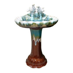 Alpine Corporation - Ceramic Bird Bath - Our Ceramic Bird Baths give your winged visitors the perfect place to splash and frolic. This bath is crafted from a durable ceramic and features a high gloss glaze finish in blue and brown.
