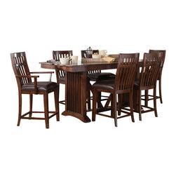 Standard Furniture - Standard Furniture Artisan Loft 7-Piece Counter Dining Room Set in Aged Bronze - The rustic, yet refined character of Arts & Crafts styling is portrayed in the authentic craftsman elements found in Artisan Loft Dining.