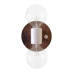 C R A F T - Braeburn wall sconce, Right Switch - A simple, wall mounted light made out of reclaimed apple crates from Musgrave Orchards outside of Bloomington, Indiana.