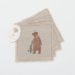 Festive Bear Cocktail Napkins - Cute bears adorn these cotton voile napkins, and they still manage to be more rustic-chic than precious.