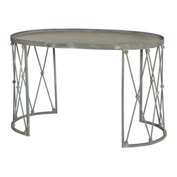 Kathy Kuo Home - Palm House French Country Weathered Zinc Oval Coffee Table - This eclectic coffee table is for those who march to their own beat. Adding old world romance to industrial zinc architecture results in a wonderfully weathered table. The distinct design allows for ample leg room in front of a sofa or loveseat.