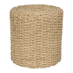 Oriental Furniture - Rush Grass Knotwork Stool - Natural - Rustic design natural fiber accessory. Tropical style stool or occasional table provides a casual accent to modern eclectic interior design.