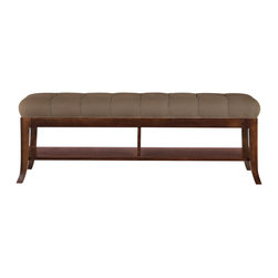 Stanley Furniture - Hudson Street Bed End Bench - Dark Espresso Finish - Upholstered in Moppet Slate fabric, which is treated for soil resistance. Made to order in America.