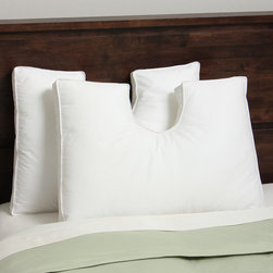 Hotel Madison - Hotel Madison Down Alternative Enrapture U-Neck Pillow (Set of 2) - The Hotel Madison pillow has a uniquely shaped central zone which forms a well-defined shoulder pocket into which the sleeper can nestle their head. This U-shaped concept is expanded to provide a more comfortable and relaxing side sleeper experience.