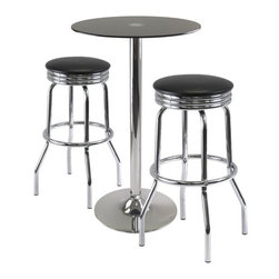 Winsome - Winsome Rossi 3-Piece Pub Set with Swivel Stools in Black - Winsome - Pub Sets - 93328