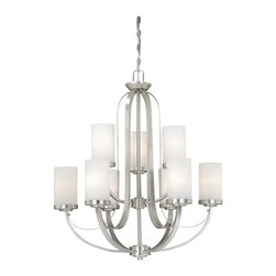 Vaxcel Lighting - Vaxcel Lighting Oxford Transitional Chandelier X-NB900UHC-XO - Offering a magnificent look, this brilliant nine-light chandelier displays a contemporary look with a charming appeal. The Vaxcel Lighting Oxford Transitional chandelier delivers lots of urbane style with a lustrous brushed nickel finish and frosted opal glass. This sleek chandelier adds sparkle to your decor.