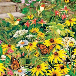 Busy Blooms Puzzle - 500 Piece Jigsaw PuzzleThe butterflies and hummingbirds in this bouquet of wild flowers are a delightful herald of spring. This jigsaw puzzle is rich in warm yellows that blend into shades of orange, pink and red. Touches of white and shades of soft, muted greens add detail to the artist's rendering of a warm, sunny day. Bright with color and cheerful in its theme, this puzzle is as challenging as it is fun.