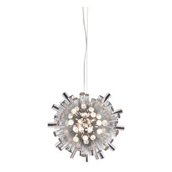 Zuo Modern - Zuo Modern Extravagance Modern Ceiling Light X-38005 - Let the burst of aluminum engulf you in all its luminescent glory. The Extravagance ceiling lamp has an aluminum shade with a chrome body. The lamp comes with ten 10W halogen bulbs and is UL approved. The height is fully adjustable.