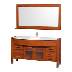 Wyndham - Daytona Single Vanity 60in. in Cherry w/ White Man-Made Stone Top & Sink - The Daytona 60 in.  Single Bathroom Vanity Set - a modern classic with elegant, contemporary lines. This beautiful centerpiece, made in solid, eco-friendly zero emissions wood, comes complete with mirror and choice of counter for any decor. From fully extending drawer glides and soft-close doors to the 3/4 in.  glass or marble counter, quality comes first, like all Wyndham Collection products. Doors are made with fully framed glass inserts, and back paneling is standard. Available in gorgeous contemporary Cherry or rich, warm Espresso (a true Espresso that's not almost black to cover inferior wood imperfections). Transform your bathroom into a talking point with this Wyndham Collection original design, only available in limited numbers. All counters are pre-drilled for single-hole faucets, but stone counters may have additional holes drilled on-site.