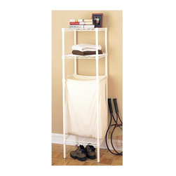 Metro Shelving - Compact Laundry Unit with Wire Shelves - Keep your dirty clothes, detergent, and dryer sheets all organized on this attractive and compact laundry unit that comes in an attractive white finished wire composition. Its versatile construction is easy to put together and adjust via its no-tools-needed design.