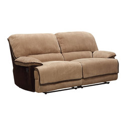 Homelegance - Homelegance Grantham Double Reclining Sofa in Chocolate & Brown - Ease into your favorite chair and with the pull of a lever let it ease you into a reclining position. The Grantham Collection provides the platform to elevate your comfort when you are ready to relax. The reclining mechanism allows for full seat extension.  Further enhancing your experience is the wide seating and ultra soft neutral brown wide wale corduroy that features contrasting chocolate trim.