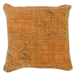 JITI - Orange Art Pillow - There is something so cheerful about orange and this happy little throw pillow is no exception. A subtle print of flowers and leaves play across the front in four quadrants, details you'll love on your bed, love seat or armchair. You'll especially appreciate its softness: Covered in velvety rug cotton, it's filled with nothing but feathers and down.