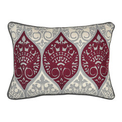 Villa Home Collcetion - Shadow Burgundy Pillow - Beautifully handmade and hand woven, each pillow is made with a quality fill of 95% feather and 5% down. The Villa Home collection offers a variety of colors, textures and accents that will add a feeling of luxury to your home. The Shadow pillow is 100% Linen.