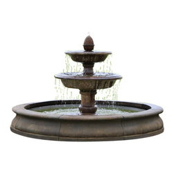 Campania - Beaufort Outdoor Water Fountain, Aged Limestone - The Beaufort Outdoor Water Fountain would be a great fountain for large properties. Not only do you get the benefits of a fountain but you can add Koi fish to the pool below to give it a unique touch. This fountain is large and will certainly be the focal point in any setting.
