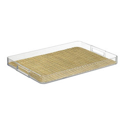 Kraftware - Handled Lucite Tray in Straw - Woven vinyl tray liner. Removable liner for easy cleaning. Stain resistant and easy to clean. Cut out handles for easy carry. Extra large size. Stain resistant fabric. Clean with a damp cloth or mild soap and water. Made from highest quality lucite. 19 in. L x 14 in. W x 4 in. H (2 lbs.)Kraftware's Woven Collection brings beauty and durability to the Table and Bar.