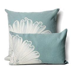 Antique Medallion Aqua Outdoor Pillow - Antique Medallion Aqua outdoor pillow design.