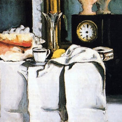 "Paul Cezanne The Black Clock - 18"" x 24"" Premium Archival Print - 18"" x 24"" Paul Cezanne The Black Clock premium archival print reproduced to meet museum quality standards. Our museum quality archival prints are produced using high-precision print technology for a more accurate reproduction printed on high quality, heavyweight matte presentation paper with fade-resistant, archival inks. Our progressive business model allows us to offer works of art to you at the best wholesale pricing, significantly less than art gallery prices, affordable to all. This line of artwork is produced with extra white border space (if you choose to have it framed, for your framer to work with to frame properly or utilize a larger mat and/or frame).  We present a comprehensive collection of exceptional art reproductions byPaul Cezanne."