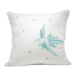Indochine Friendship Bird Pillow, White/Robins Egg