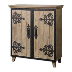 Uttermost - Abelardo Rustic Console Cabinet - Keep your home clutter-free with this handsome console cabinet. The rustic wood styling is attractively accented by wrought iron detailing.