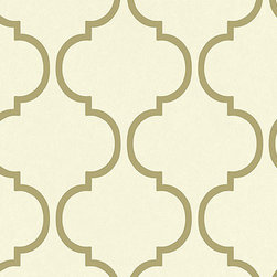 Carl Robinson 1st Edition Wallpaper, Metallic on White - I love the glamorous look of this wallpaper pattern: a creme background with a subtle gold ogee pattern. I could see this in a designer closet, a vanity or a sophisticated home office.