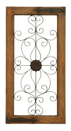 "Benzara - Wooden Auburn Tinged and Metal Wall Panel with Floral Design - Wooden Auburn Tinged and Metal Wall Panel with Floral Design. Add a dash of simplicity and opulence to you home with this amazing wall panel that oozes charm. Made from the best quality metal and durable wood, this wall panel is a must have. It comes with a dimension of 28""H x 14""W x 1""D."