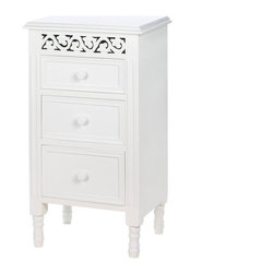 Gifts galore - White Ivy Side Table - This gorgeous table has the perfect bedside manner!  Notice the three pullout drawers that let you keep essentials tucked out of sight.  and the fanciful  carved panel at the top gives this beautiful white table undeniable style.  It will look great in any room of your home.  Products not included.