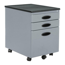 Calico Designs - Calico Designs Metal File Cabinet - Silver - 51102BOX - Shop for File and Storage Cabinets from Hayneedle.com! If you've got limited space the Calico Designs Metal File Cabinet - Silver is perfect for rolling underneath a desk or table. Rolling casters make this file cabinet mobile but with two locking casters it'll stay where you need it. Security won't be a problem with these three locking drawers. The two top drawers are perfect for supplies while the versatile bottom file drawer is ready to accomodate letter- or legal-size hanging files. Plus you'll never have to worry about a heavy drawer tipping over because the design features a fifth wheel in the front specifically for balance.Drawer Dimensions:Top 2 drawers: 12.5W x 17D x 2.25H inchesBottom drawer: 12W x 15D x 10H inchesAbout Studio Designs OfficeStudio Designs has 24 years of experience in the ready-to-assemble Arts and Crafts Furniture and Easel industry. They seek to inspire artists young and old through the simplicity and utility of their designs. They are based in Commerce California.