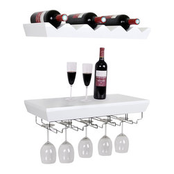 Welland - Wall Mounted Wine Shelf with Glass Holder Set - Take your space-saving tendencies to new heights with this creative wine storage solution. The two-piece set keeps both your glasses and bottles in one place and offers a convenient ledge that's perfect for pouring and serving. Wine aficionados need not have a private cellar to be prepared for a party anytime. Cheers!