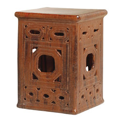 Kathy Kuo Home - Square Asian Lattice Pierced Garden Seat Stool- Antique Brown Glaze - Traditionally used in China as tea tables- these garden stools make a perfect addition to your living space as side tables, or clustered together to be used as a coffee table.  Glazes are triple fired for added luster and shine.  With a hand made product, glaze variations of up to 10% is to be expected.
