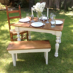 "The ""Petite"" Plantation Farm Table - made with reclaimed wood - Arcadian Cottage"