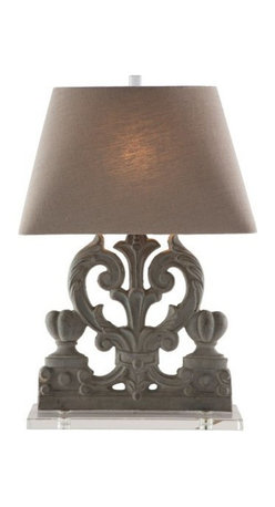 Aidan Gray - Chateau Palermo Lamp Set of 2 - Ornately curved and subtly colored, this lovely table lamp (sold as a pair) brings a graceful grandeur to your favorite traditional setting. The metal body recalls the Italianate style, while the sleek base and soft linen shade lend balance.