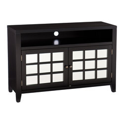 Holly & Martin - Carter Mirrored TV/Media Stand, Black - Elegant style and exceptional design combine in this amazing TV/media stand. The smooth, black finish and abundant storage make this stand a charming addition to any home.