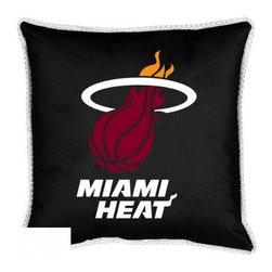Sports Coverage - Sports Coverage NBA Miami Heat Sideline Toss Pillow - Make that new officially licensed NBA Miami Heat Sidelines Toss Pillow look as good as it feels. A must have for any true fan. A New Design - Same great quality!! Coordinating Toss pillow to match jersey material logo Comforter. Each Pillow is made from 100% polyester jersey material (just like the athlete's wear). Pillow has large team logo in the center of the pillow, as well as a strip of mesh trim around it.   Features:  - Toss Pillow is 17 x 17,   - Poly/Cotton bottom side,   - 100% Polyester Cover and Fill,   - Sidelines is trimmed in teams secondary color,   - 100% Polyester Jersey,   -  Spot Clean only ,