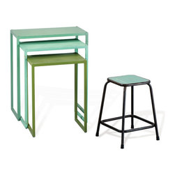 Lanier Tables and Stool - Cool candy colors can give a hot look to your space. Three nesting tables provide surface area with a whimsical splash of color echoed in the matching stool. With extra seating and extra space, the set is perfect for parties.