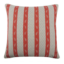 "Thomas Paul - Ship Vineyard Throw Pillow - The handmade, oversized Thomas Paul Ship Vineyard throw pillow features hand screened prints on 100% flax material.  The design is reversible and features two of our favorite themes: nautical imagery and floral designs. The front design features a sailboat with a fun floral background. The reverse side of the pillow features red and white pattern stripes. The throw pillow has piped edges and comes with a feather insert. The red, white, and blue color adds a pop of americana color to living room decor with classic colors.   About the Artist: After graduating from NYC's famed FIT, Thomas Paul started his career as a colorist and designer at a silk mill. Eventually, he leveraged his knowledge of silk materials & print to launch a neckwear line of his own. Over time, Paul loved the idea of applying menswear print and design into a collection of home decor, which is what we see in his goods today. His background has embedded in him a passion for quality production techniques. Even as his brand grows, he continues to ensure all of his prints are hand screened - a slow, detailed process that results in each piece being a unique piece of artwork. Paul also pushes the envelope in terms of bold prints and hand ground materials.       ""My vision for the thomaspaul brand has always been about combining classic design motifs from different periods in textile design. Incorporating anything from an 18th century Damask pattern to a camouflage print. The unifying thread between so many different styles is to change the designs so they are updated for today. For me this means changing the scale, so they are always bold, and reducing down the colors and details, so most designs are reduced to two or three colors and become very flat, bold prints. I am always looking to vintage fabrics and motifs for inspiration and new ideas, but always try to update these to look good for today."" - Thomas Paul   Product Details:"